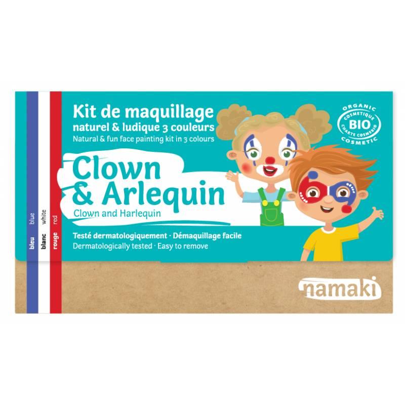 Kit de maquillage 3 couleurs Clown & Arlequin