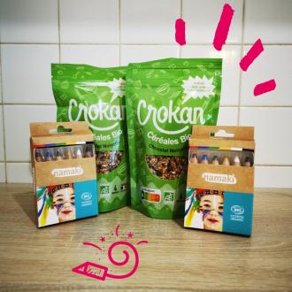 JEU CONCOURS ! Namaki x @crokanbio   Vous connaissez la nouvelle marque Crokan ? Les nouvelles céréales bio, saines et gourmandes testées et approuvées par les enfants ! 🤗  Tentez de gagner un mois de céréales bio Crokan ainsi qu'un kit de 6 crayons de maquillage Namaki !  Pour participer c'est un jeu d'enfant :  ✨ Suivez nos 2 comptes @namakicosmetics et @crokanbio  ✨ Commentez en invitant deux ami(e)s avec qui vous aimeriez partager votre petit déjeuner déguisé ! ✨ Repartagez notre publication en post ou en story en nous taguant pour doubler vos chances  Tirage au sort le 10 mai !   Bonne chance à tous 🤞!